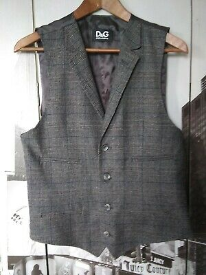 Dolce & Gabbana Wool Vest (Dolce & Gabbana Men's Silk Wool Gray Plaid Button Up Vest US 36 IT)