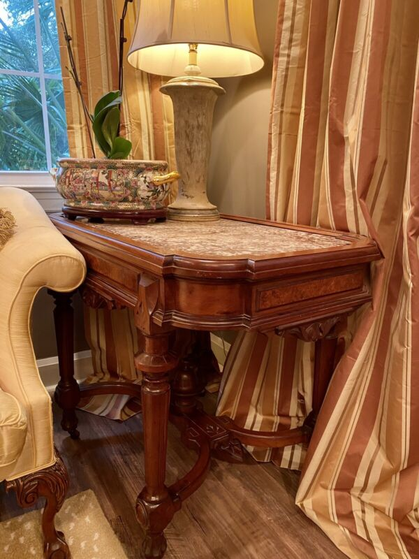 Beautiful Antique Marble Top Walnut Carved Side Table