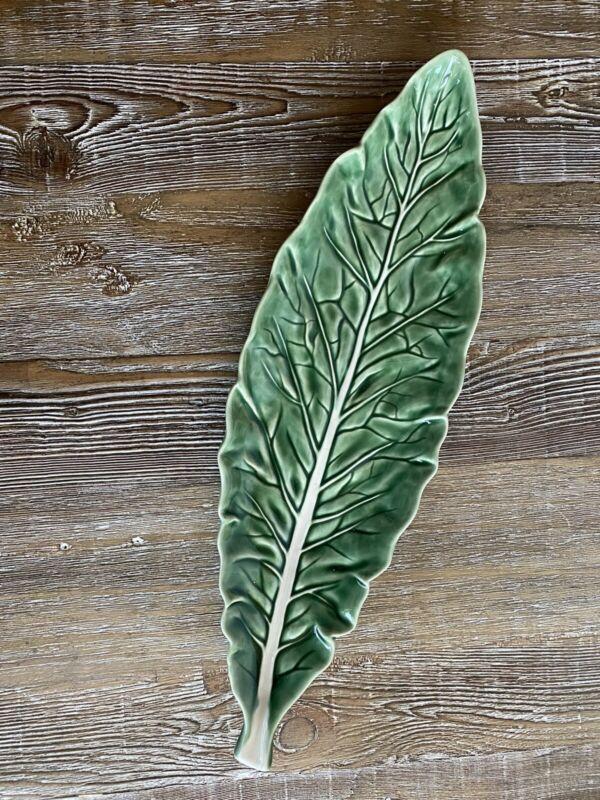 "Awesome Bordallo Pinheiro Long Narrow Green Cabbage Leaf 16"" Serving Platter"