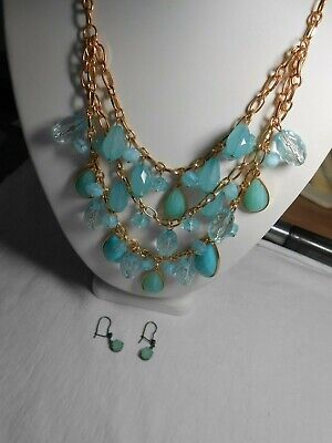 Charming Charlie Blue Dangle Bib Necklace & pair of Pierced Earrings](Dangle Necklace)
