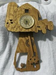 Farm, Barn and Tractor Wood Pendulum Battery-Operated Wall Clock