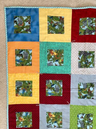 New Handmade Baby Quilt/Blanket in a Jungle Animal Theme