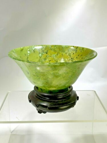 Vintage Chinese Superb Color Marbled Green Jade Tea Cup/Small Bowl