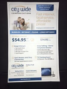 City Wide Internet $54.95/ mo. Free Long Distance w/ Home Phone