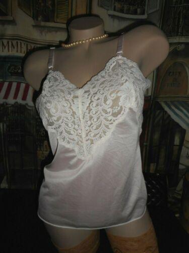 38 Pink Nylon Satin Cami Shadowline Pink White Lace Midcentury Vintage 1970