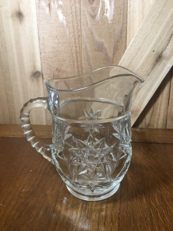 Crystal Small Syrup Pitcher- Star Of David cut crystal W Ribbed Handle