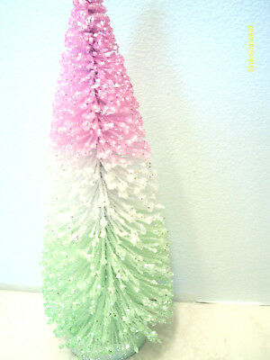 Pink White Green Flocked Easter Bottle Brush Tree Shabby Chic Ombre Pastel