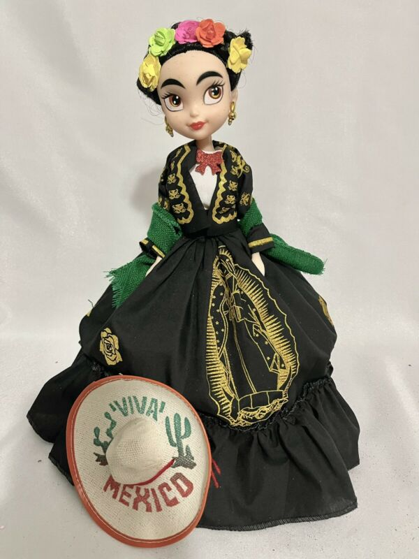 Frida Kahlo Doll Muñeca de Frida wearing a dress with the Virgen of Guadalupe