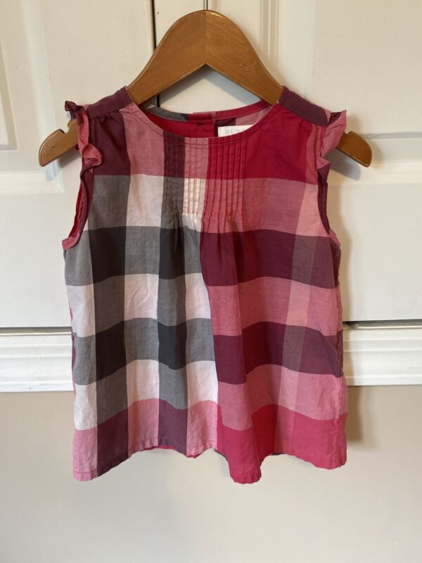 Butberry Girls Top In Pink Check In Size 3T/3Y/3A