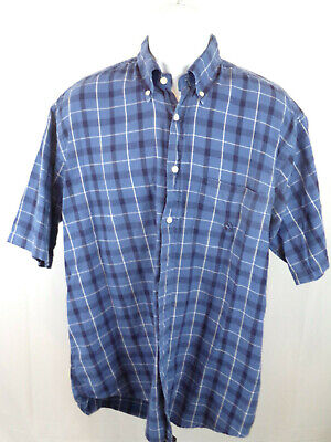 Nautica Mens Large Blue Check Short Sleeve Button Down Casual Shirt A35