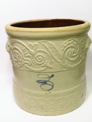 """Antique Unusual Raised Design Stoneware Crock Cobalt Bee Sting Handled 11"""""""