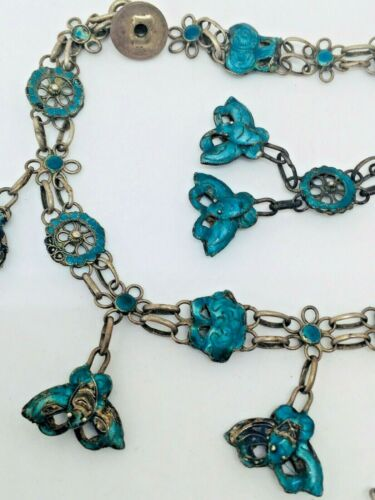 antique ENAMEL silver filigree parts of necklace SPARE PROJECT 14g