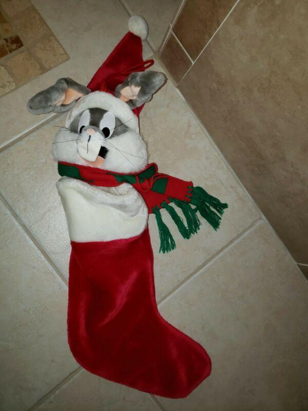 Vintage 1995 Bugs Bunny Plush Christmas Stocking Warner Brothers Studios