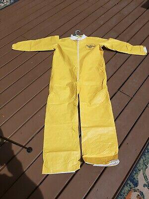 Dupont Tychem Tyvek Qc Yellow Coveralls Chemical Hazmat Suit Size Medium New