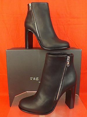 NIB RAG&BONE BLACK DISTRESSED LEATHER ZIP AVERY HIGH BOOTS 40 $570