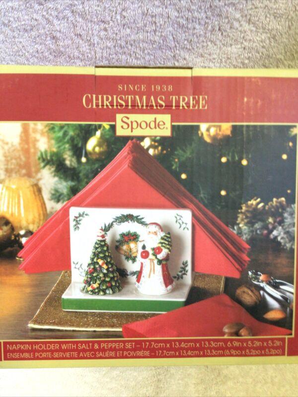 Spode Napkin Holder W/ Santa & Tree Salt & Pepper Shakers New Original $80