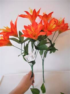 2 Bunches quality orange artificial flowers for $2