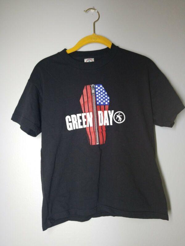 Youth XL Green Day Band T Shirt Tee Black Zipper Flag Coffin