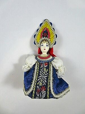 Russian Doll Christmas Ornament Wearing Traditional Folk Costume Porcelain Face - Traditional Russian Costume