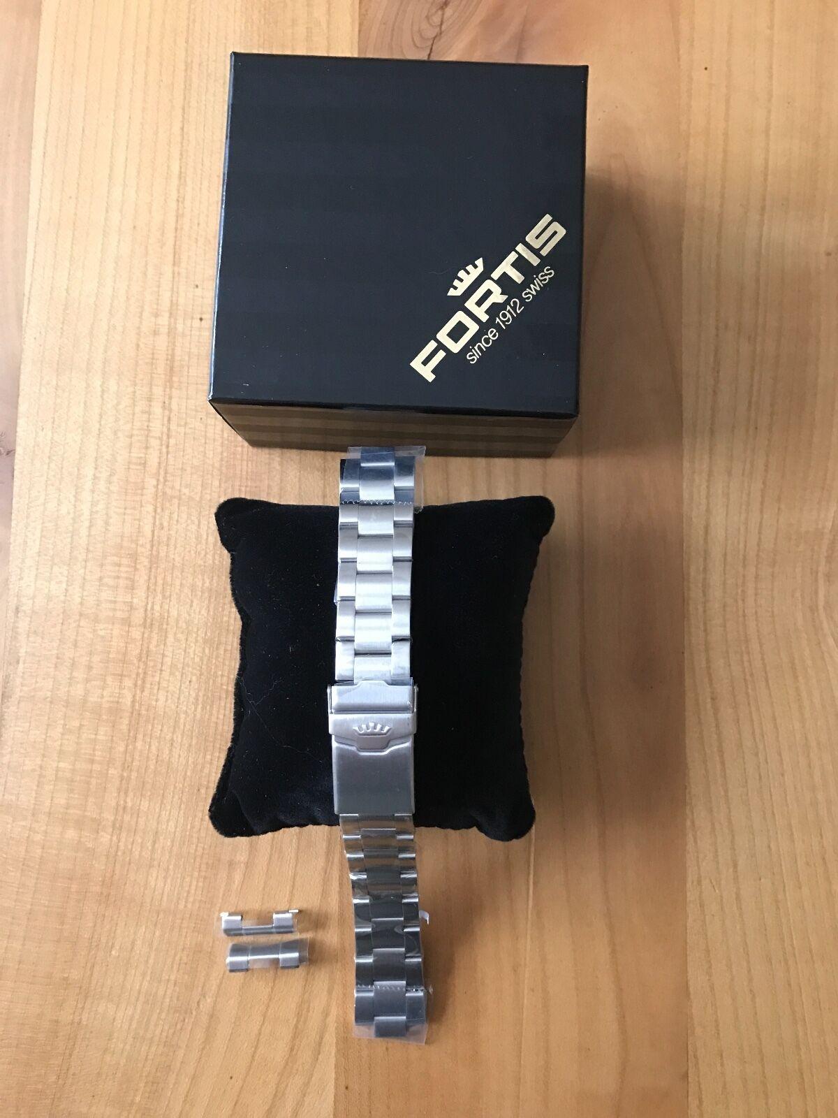 FORTIS Stahl Metall Armband Flieger z.B 595.xx, 597.xx, Gebürstet, Original, Neu