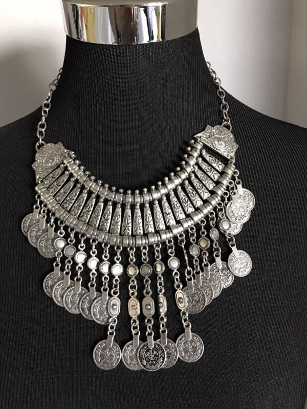 """Silver Tone Large Statement Necklace Boho Egyptian Bib Dangling Coins 18-20"""""""