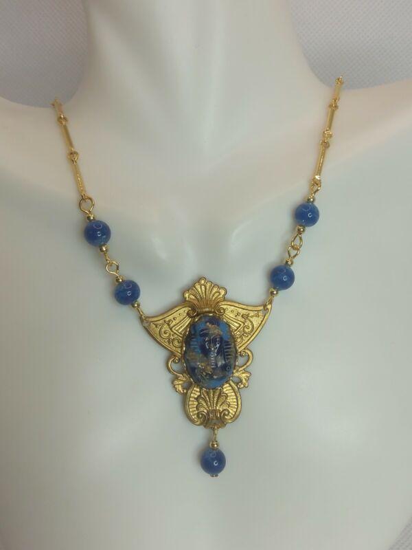 Vintage Egyptian revival Czech glass pharaoh lapis glass beads golden necklace