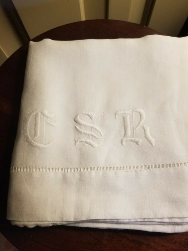 ANTIQUE LARGE LINEN MONOGRAMMED PILLOWCASE GSR