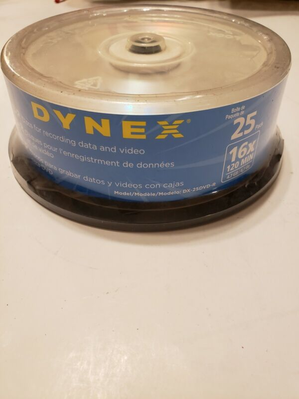 Dynex 25-Pack 16x DVD-R Disc Spindle NEW