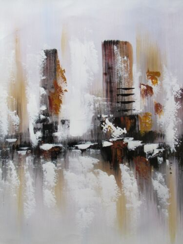 abstract+cityscape+large+oil+painting+canvas+brown+white+cream+original+new+york