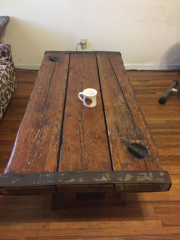 Antique WWII Liberty Ship Wood HATCH COVER Coffee Table Savannah Georgia