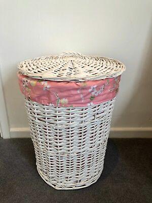 Doppel-weidenkorb (Rund Rattan Weiß Doppel Weidenkorb Aufbewahrungs Behälter mit Deckel Pink Blumen)