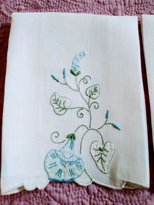 """Set of 2 Madeira Embroidered & Applique Blue Bell Linen Hand Towels 14"""" by 8"""""""