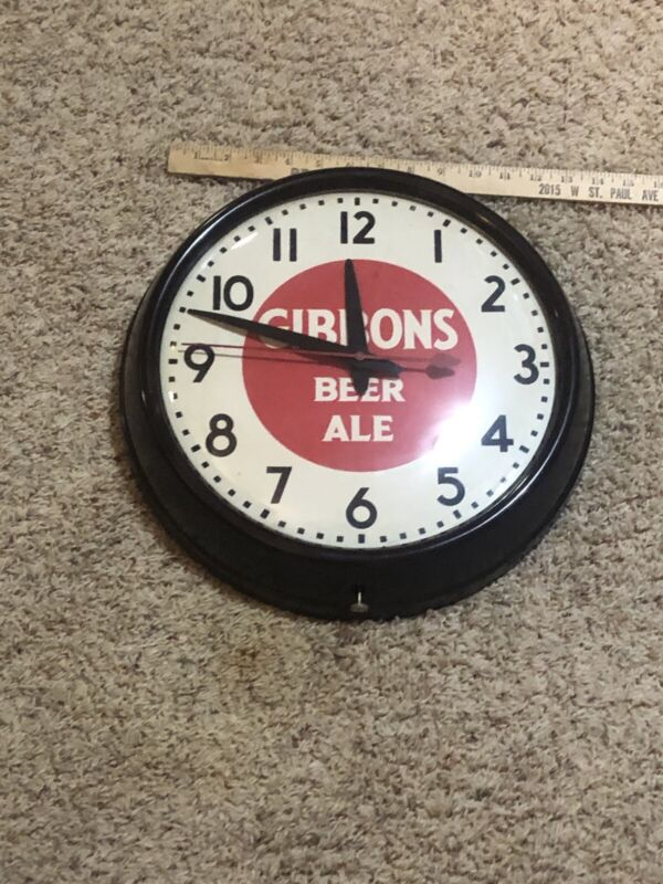 Gibbons Beer Ale Clock Old Vintage Beer Advertising Works