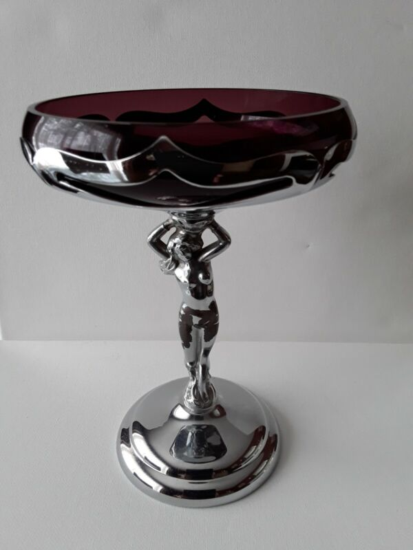 Vintage Art Deco Chrome Nude Compote Dish With Amethyst Glass , Farber Bros.