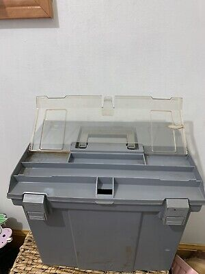 Vintage Rubbermaid Portable File Tote Handle Storage Box Tackle Tools Some Wear
