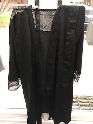 Iris And Lilly Womens Satin Feel Black Kimono Nightwear