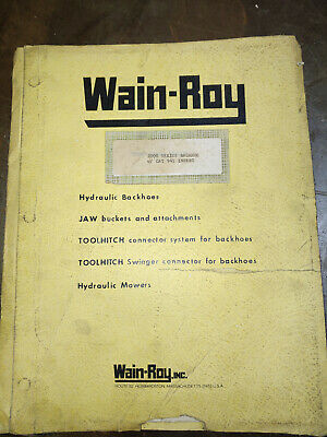 Wain-roy 2000 Series Backhoe W Cat 941 Insert Operation And Parts Manual