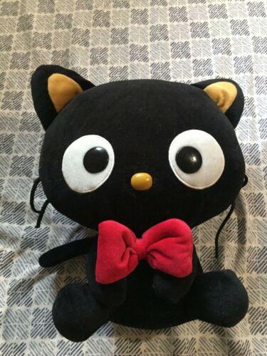 "2012 Sanrio Chocolat Bow Tie Black Cat Plush 11"" tall"
