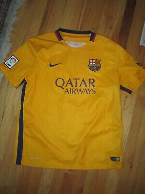 2015 QATAR AIRWAYS JERSEY SHIRT - FCB SOCCER PATCH - NIKE DRY-FIT SIZE XL image