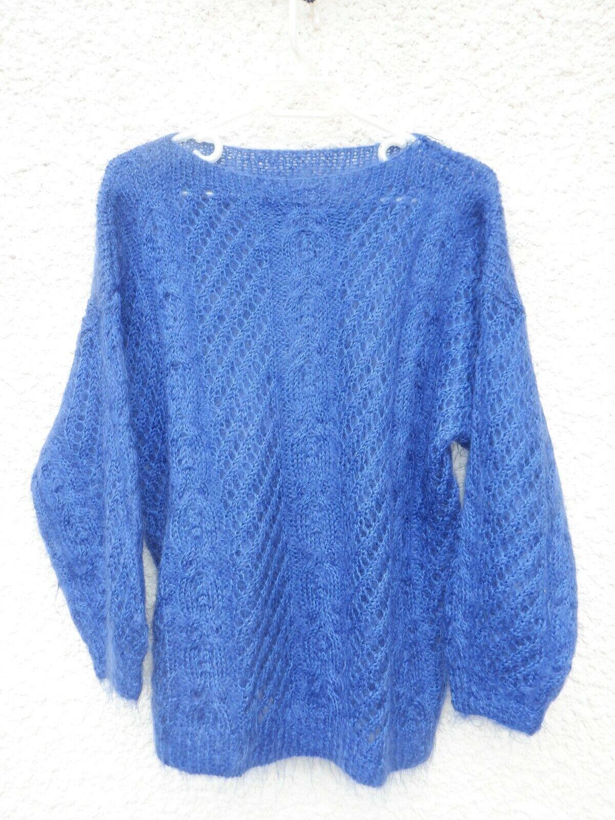 beau pull neuf bleu tricoté mains laine mohair t44/46