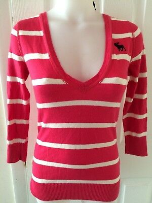 Abercrombie & Fitch SMALL  Pink And White Striped 3/4 Sleeve Sweater