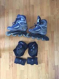 Rollar skates with wrist pads and knee pads