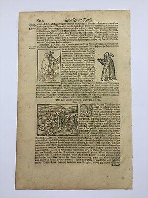 Einzelblatt aus Sebastian Münster's Cosmographia 1598 mit 4 großen Holzschnitten