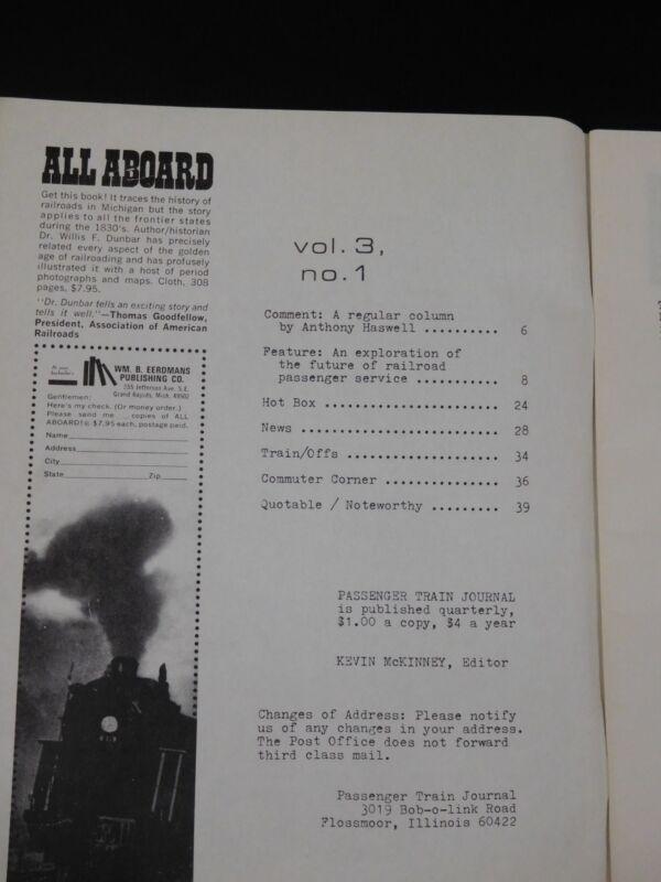 Passenger Train Journal 1970 Spring Vol.3 No.1 Future of RR passenger service