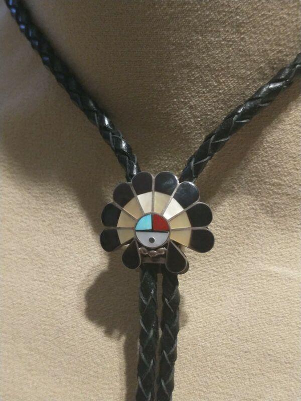 Zuni Sun Face Sterling Silver Inlaid Stone Chief Head Dress Bolo Tie