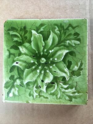 "Green Flower Art Deco Art Nouveau Crackle Glaze Tile 3""  Victorian"