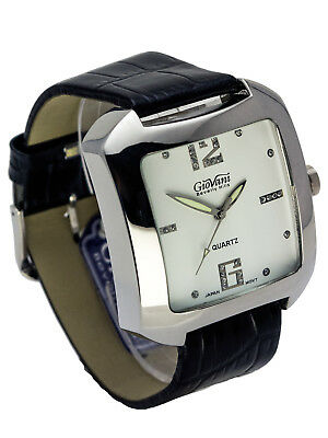 GIOVANI:WOMEN'S BLACK LEATHER BAND LARGE SQUARE CASE ANALOG QUARTZ WATCH Black Leather Square Watch