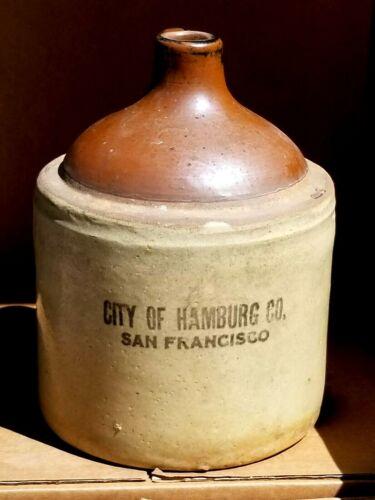 RARE Antique City of Hamburg  San Francisco Co Whiskey? Jug EUC Gallon