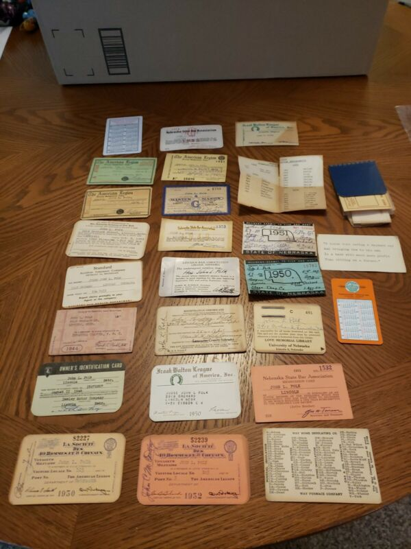 NEBRASKA STATE BAR ASSOCIATION VINTAGE Membership cards Mixed Lot 1950s