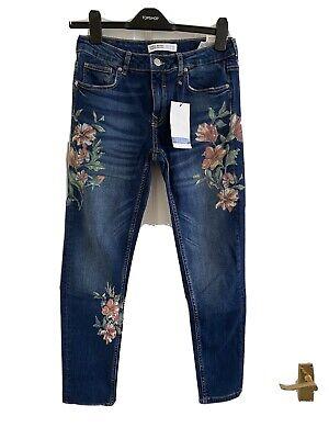 Zara BNWT Blue Skinny Floral Jeans Size 10 Eur 38